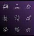 celebration icons line style set with celebration vector image