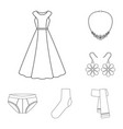 clothes and accessories outline icons in set vector image vector image