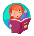 Cute Girl Mascot character reading book education vector image vector image