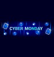 cyber monday sale horizontal banner with digital vector image vector image