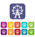 Ferris wheel icons set