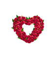 frame heart shape rose flowers wreath vector image vector image