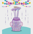 garden mason jar cartoon vector image