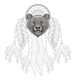 hand drawn entangle dreamcatcher with bear head vector image