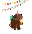 happy dog with ice cream card vector image vector image