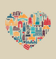 heart of symbols icons world tourist attractions vector image vector image