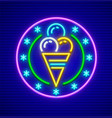 ice-cream in waffle cup neon vector image vector image