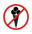 image of ice cream cone behind no sign on white vector image vector image