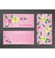Invitation template with lily flowers on pink vector image vector image