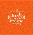 Kids menu label and fast food seamless pattern vector image vector image