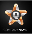 letter q logo symbol in the colorful star on black vector image vector image