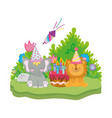 little elephant and lion with party hat vector image vector image