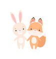 lovely white little bunny and fox cub cute best vector image vector image