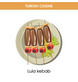 lula kebab on wooden sticks from turkish cuisine vector image vector image