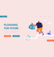 male sports character plogging landing page vector image vector image