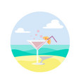 martini on sand with an orange slice vector image