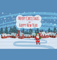 merry christmas and happy new year village house vector image vector image