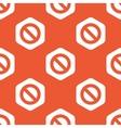 Orange hexagon NO sign pattern vector image vector image