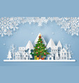 origami paper art christmas tree in village vector image