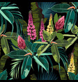 palm leaves ficus and lupines flowers pattern vector image vector image