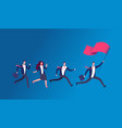 people holding flag and running business leader vector image