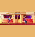 people in subway train vector image