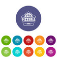 pizza icons set color vector image vector image