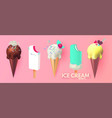 realistic 3d ice cream set fruit creamy and vector image vector image