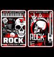 rock music concert grunge posters metal festival vector image