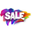 sale paper poster with colorful brush strokes vector image vector image