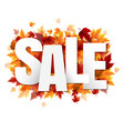 sale poster with colorful autumn leaves vector image
