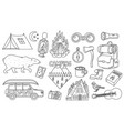 set cute camping elements stickers doodle vector image vector image