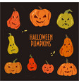 set halloween pumpkins with different faces vector image vector image