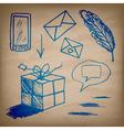 set ink drawn symbols on paper texture vector image