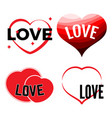 set of four red hearts vector image vector image