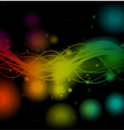 Shiny colorful lines on black background vector image vector image