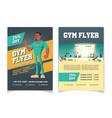 sport club gym cartoon flyer template vector image