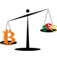 the bitcoin outweighs all currencies vector image