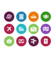 Travel circle icons on white background vector image vector image