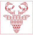 Winter pattern reindeer head frontal vector image vector image