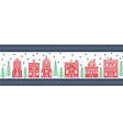 Xmas pattern with winter wonderland town in green vector image vector image