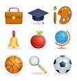 Realistic School icons education symbols set line vector image