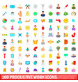 100 productive work icons set cartoon style vector image vector image