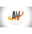 av a v letter logo with fire flames design and vector image vector image