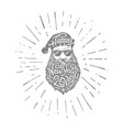 bad santa with sunglasses black vector image