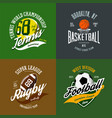 basketball and soccer rugby and tennis icons vector image vector image