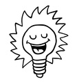 black and white happy lightbulb vector image vector image