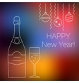 bottle and glass champagne on chalkboard vector image