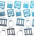 business bank money bag safe box calculator vector image