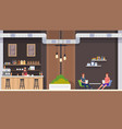cafe interior barista and visitors flat vector image vector image